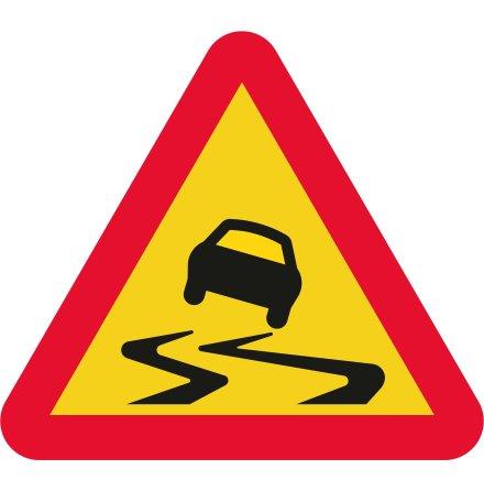 Varning för slirig väg