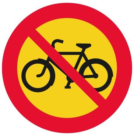 Förbud mot trafik med cykel och moped klass II - Förbudsskylt
