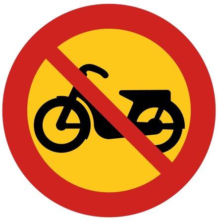 Förbud mot trafik med moped klass II - Förbudsskylt