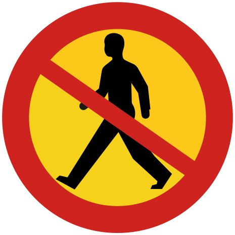 Förbud mot gångtrafik - Förbudsskylt