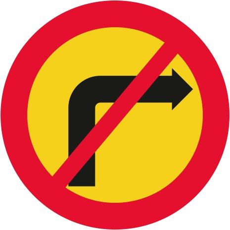 Förbud mot sväng i korsning - Förbudsskylt