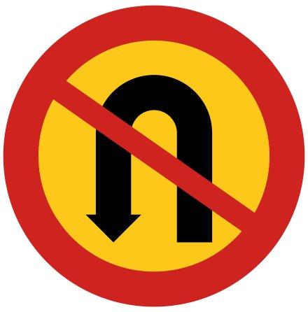 Förbud mot U-sväng - Förbudsskylt