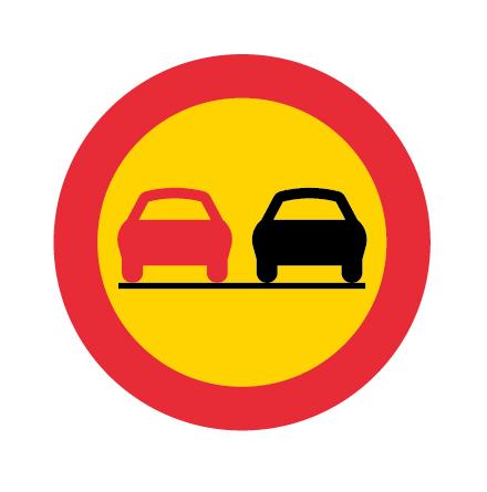 Omkörning förbjuden - Förbudsskylt