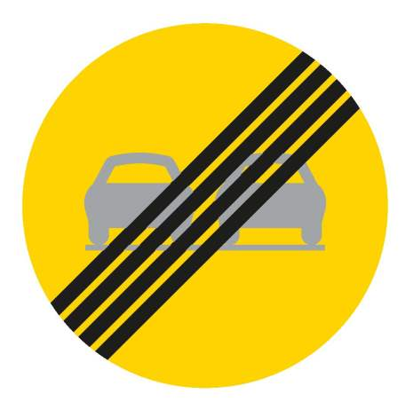 Slut på förbud mot omkörning - Förbudsskylt