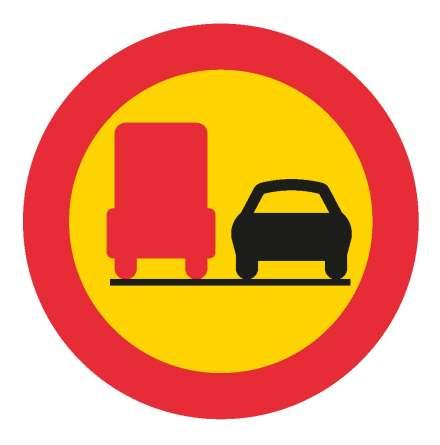 Förbud mot omkörning med tung lastbil - Förbudsskylt