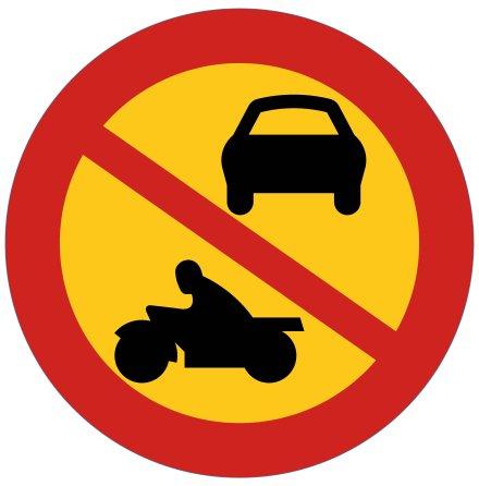 Förbud mot motortrafik utom moped klass II - Förbudsskylt