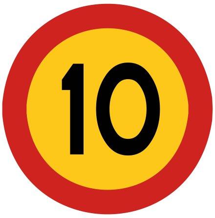 Hastighetsbegränsning 10 kmh
