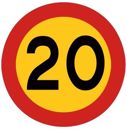 Hastighetsskylt 20 kmh
