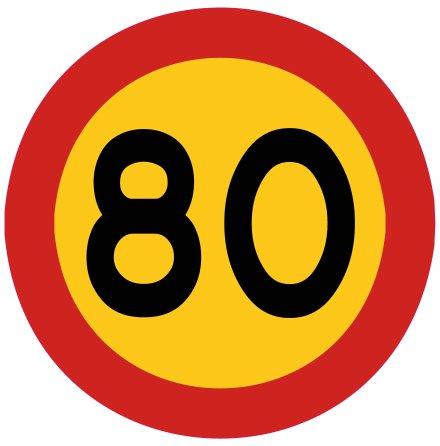 Hastighetsbegränsning 80 kmh
