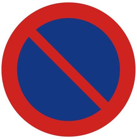 Förbud att parkera fordon - Förbudsskylt