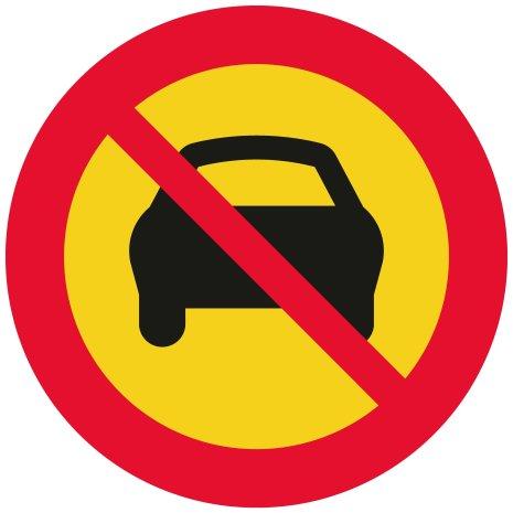 Förbud trafik med mer än två hjul EG-N (1.2.4) - Förbudsskylt