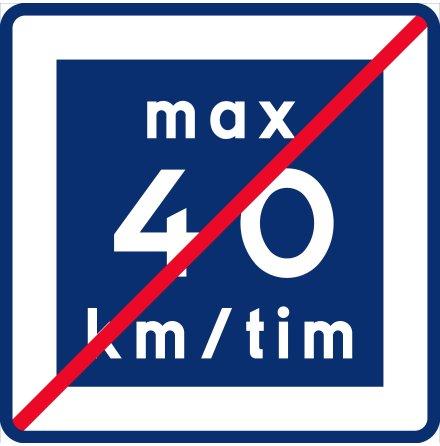 E12-4 Rekommenderad lägre hastighet upphör