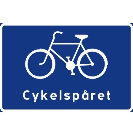 Cykelledsskylt, symbol + text