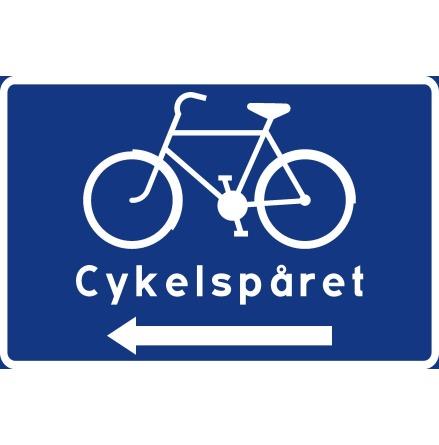 Cykelledsskylt, symbol + text + pil vänster